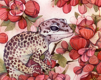 Original Watercolour on paper canvas - Leopard Gecko and Quince