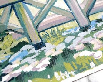 Original Acryla Gouache Painting  - Pond Study