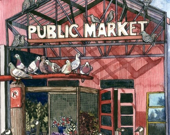 Original Watercolour Painting - Crowded Market