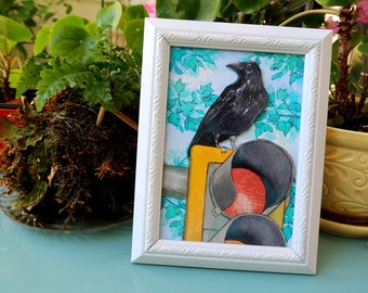 Original watercolour Crow Painting - Taking control