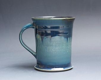Pottery coffee mug, ceramic mug, stoneware tea cup navy blue 18 oz 4378