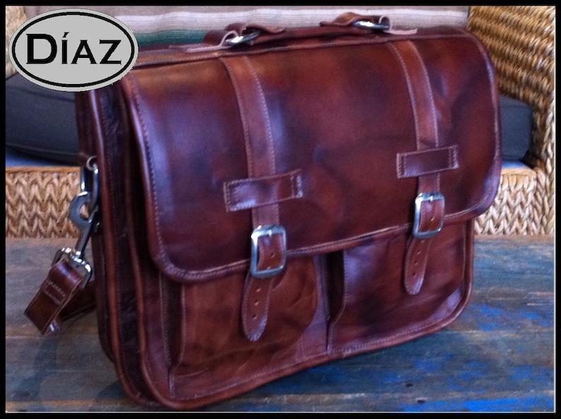 15in MacBook Pro DIAZ Medium Geunine Leather Briefcase  Backpack Laptop Messenger  Bag Satchel in Antique Light Brown