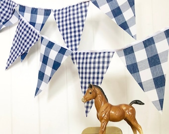 Navy Gingham Banner Bunting, Fabric Pennant Garland Flags, Baby Shower, Vintage Style Gingham Picnic Party, Wedding, Birthday Photo Prop