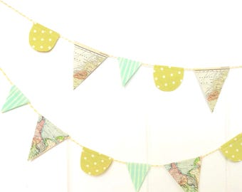 map banner farmhouse bunting vintage world map fabric scallop triangle pennant flags