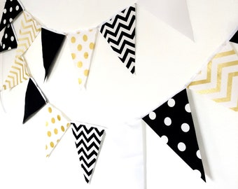Metallic Gold, Black, White, Fabric Banner Bunting, Pennant Flags, Glitter Gold Wedding Party Banner, Photo Prop, Bridal Decor, Birthday