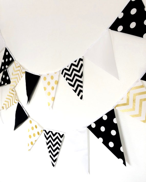 Metallic gold and black 3-foot fabric banners