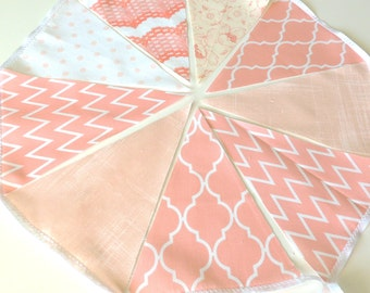 Peach Fabric Bunting, Pennant Flags, Wedding Party Banner, Chevron, Quatrefoil, Photo Prop, Baby Nursery Decor, Vintage Chic, Bridal Shower,