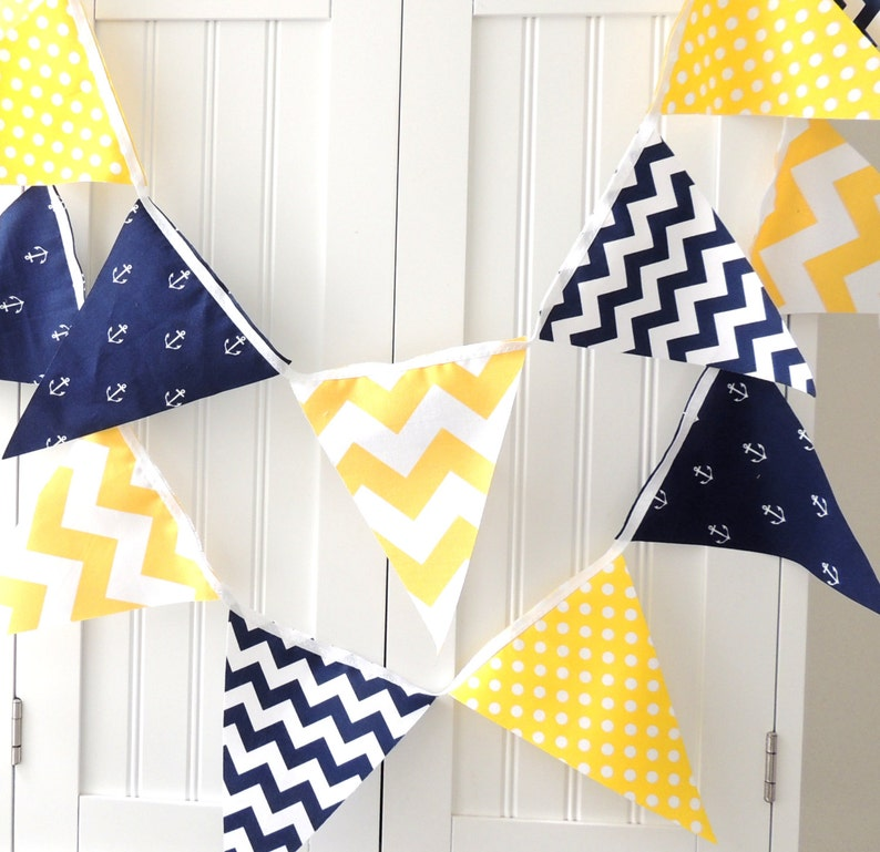 Nautical Banner Bunting Fabric Pennant Flags Navy Blue image 0