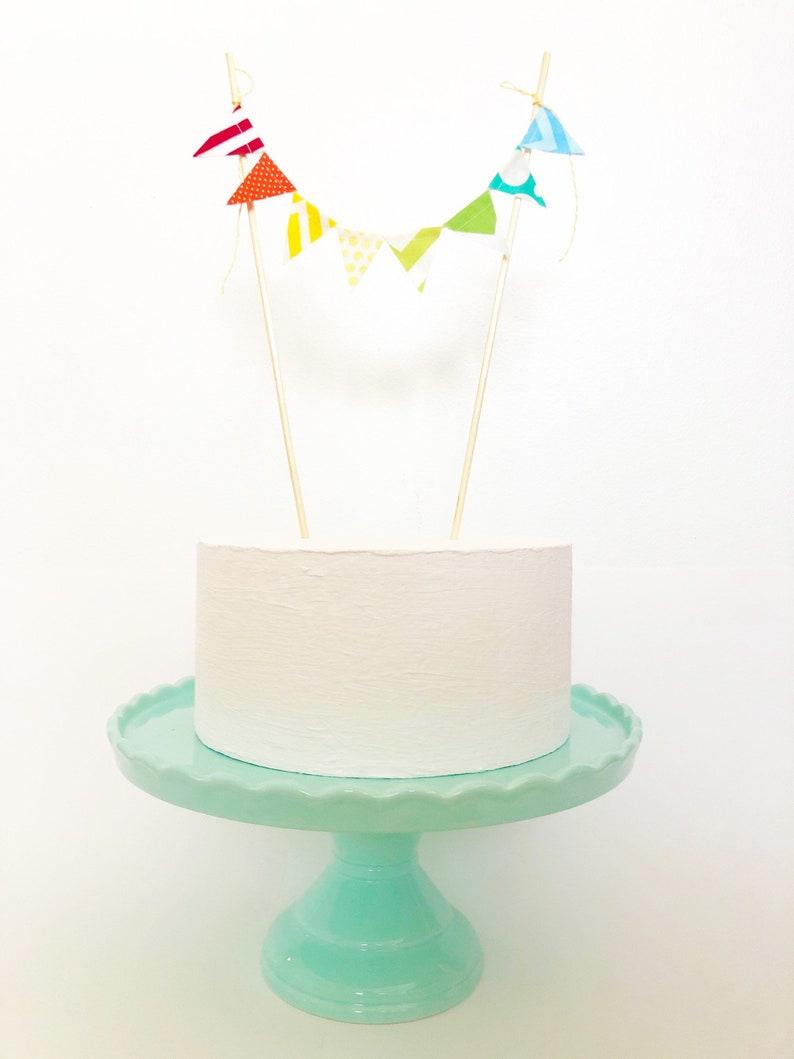 Rainbow Birthday Cake Topper Banner Baby Shower Fabric
