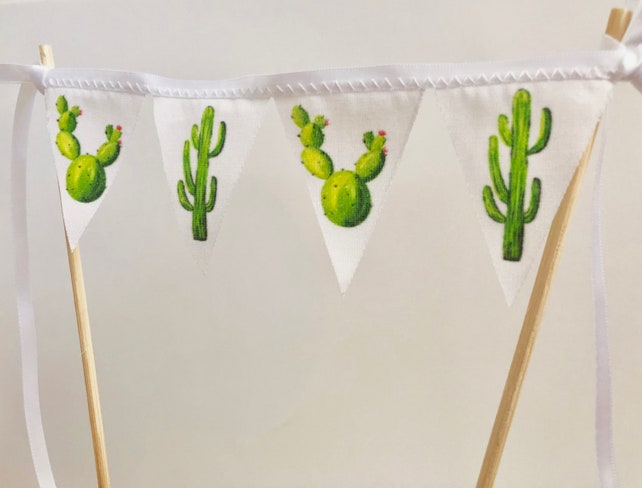 Cactus Birthday Cake Topper Banner Baby Shower Fabric Bunting Flags