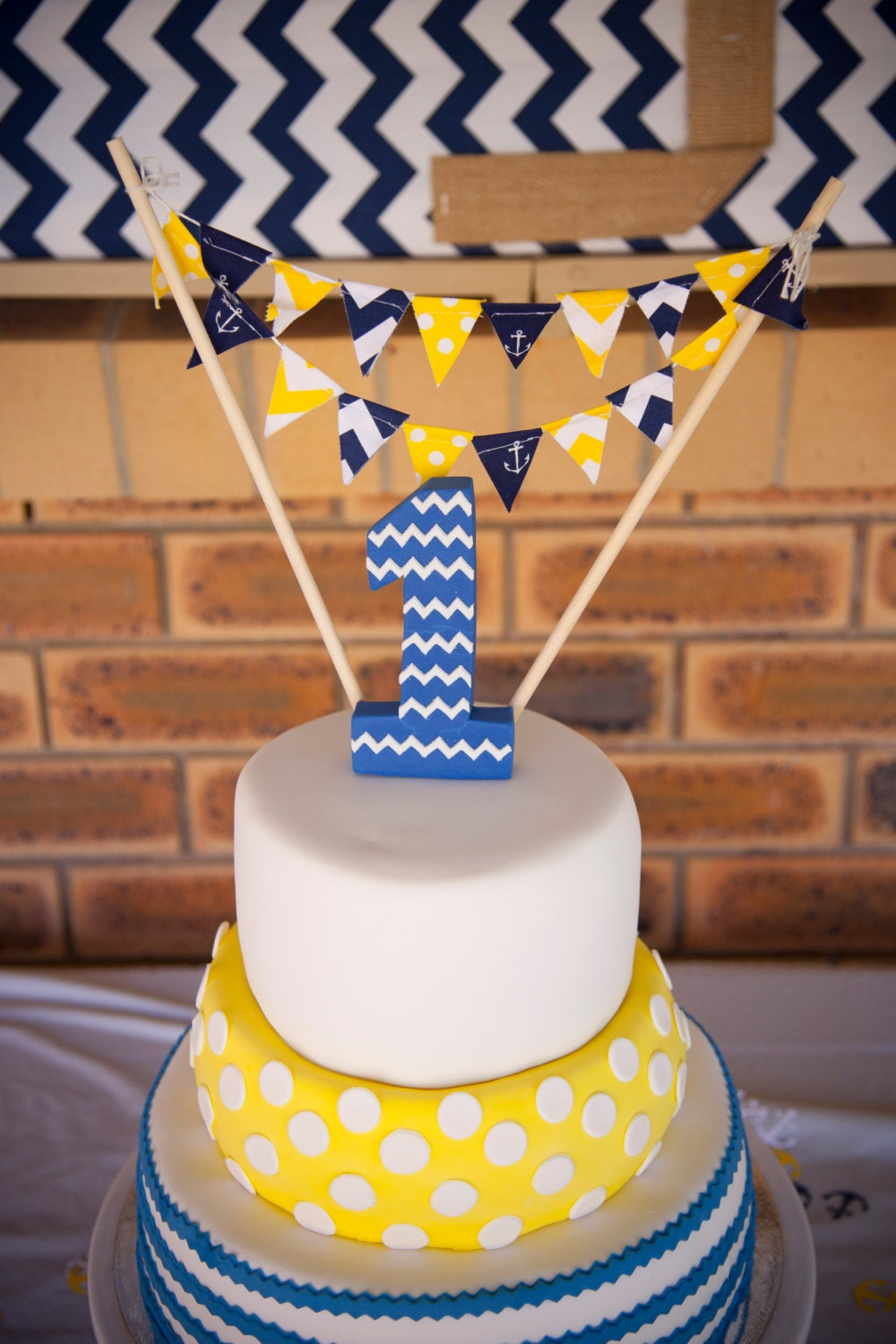 Birthday Party Banner Cake Topper Mini Cake Bunting Navy