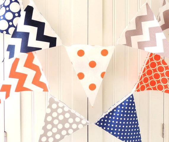 Fanion Tissu : Banderole banderoles drapeaux fanion tissu orange gris etsy