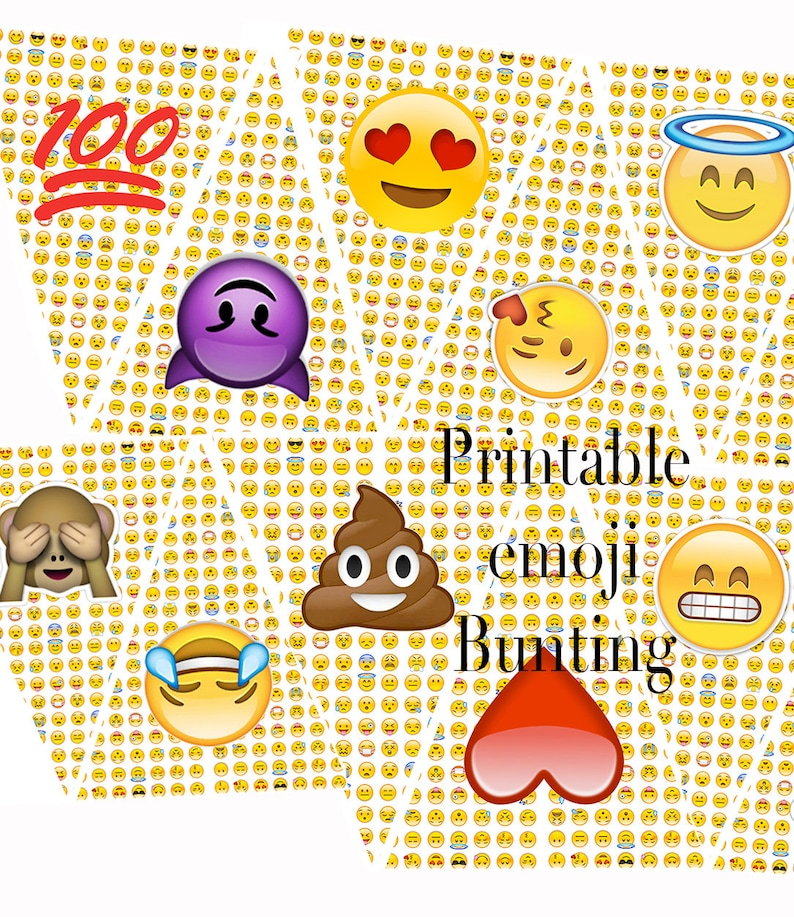 graphic relating to Emojis Printable identified as EMOJI Printable Bunting, Fast Down load, Teenager Birthday Occasion Banner, Flag Garland, 100, Poop, Monkey, Hysterical Emojis Printable Garland