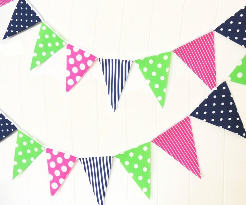 Girl Birthday Party Wedding Garland Polka Dot Green Hot Pink Navy Blue Bunting Pennant Fabric Flags Stripe Baby Nursery Decor Banner