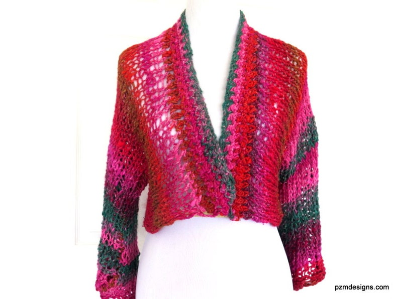 4288013ff7c Hand Knit Layering Shrug Red and Pink Noro Cardigan