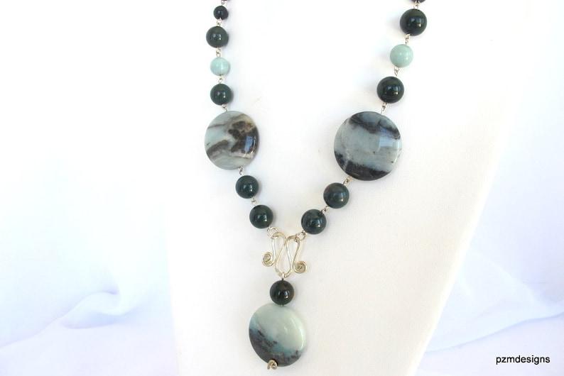 amazonite and bloodstone modern tribal jewelry Bloodstone gemstone necklace
