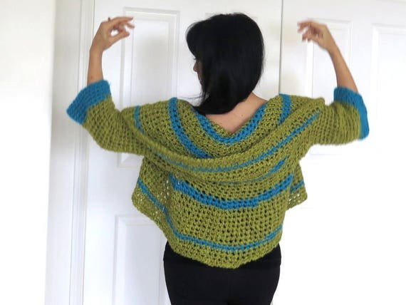Green Crochet Shrug Chunky Circle Sweater With Shawl Collar Etsy