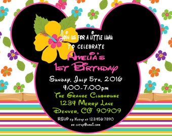 Printable PDF Minnie Mouse Luau