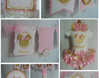 Minnie Mouse Pink And Gold Petite Party Package 1st Birthday Decorations High Chair Banner Outfit