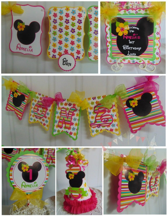 Minnie Mouse Luau 1st Birthday Party Package ONE Banner