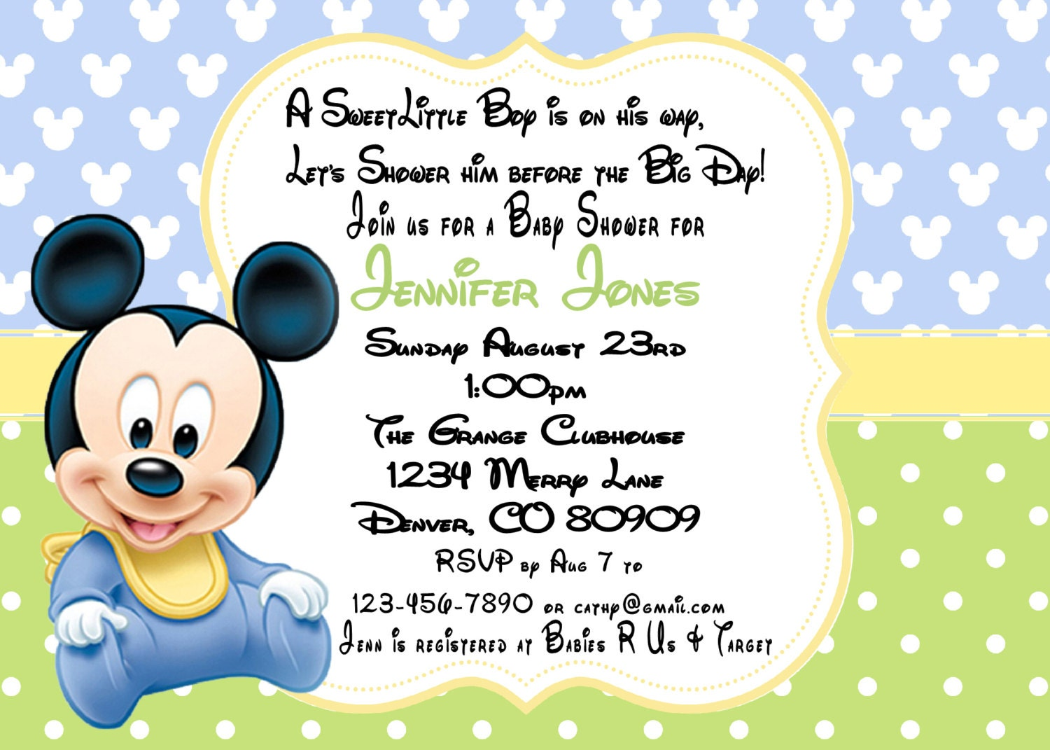 This is a photo of Tactueux Mickey Mouse Baby Shower Invitations Printable