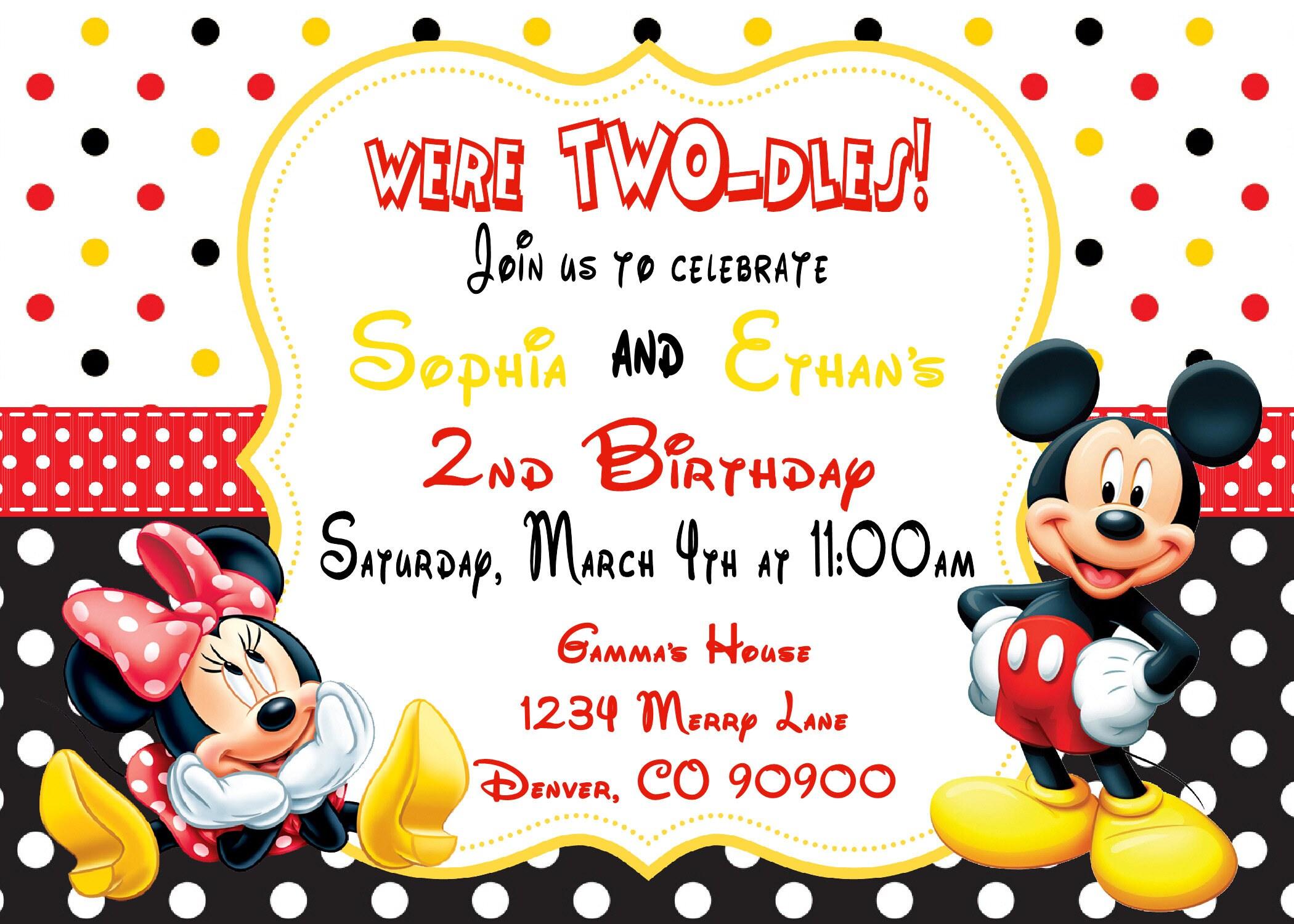 MIckey and Minnie Mouse Birthday 1st birthday Invitation | Etsy
