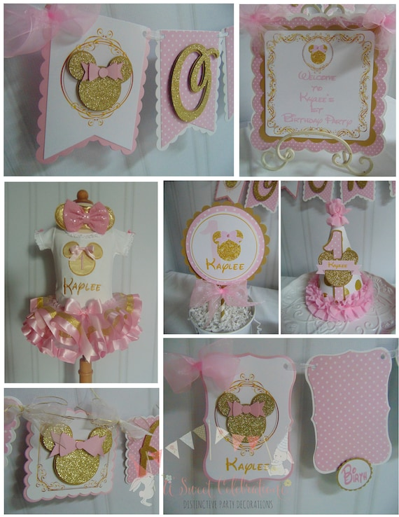 Minnie Mouse Minnie Mouse Pink And Gold Minnie Mouse 1st Birthday