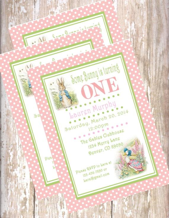 peter rabbit birthday invitations bunny printable pdf easter etsy