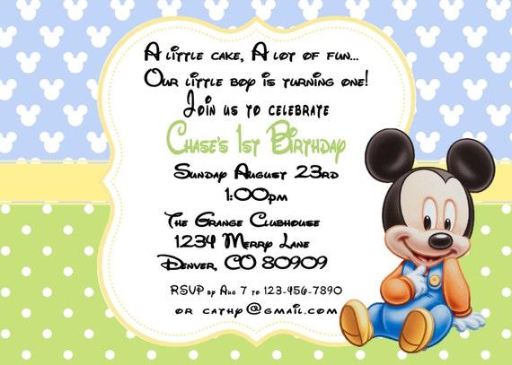 MIckey Mouse Birthday 1st Birthday Invitation Printable PDF By A