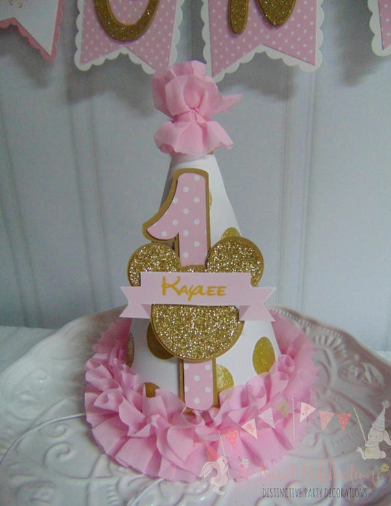 Minnie Mouse Pink And Gold Disney Happy Birthday Party Hat 1st