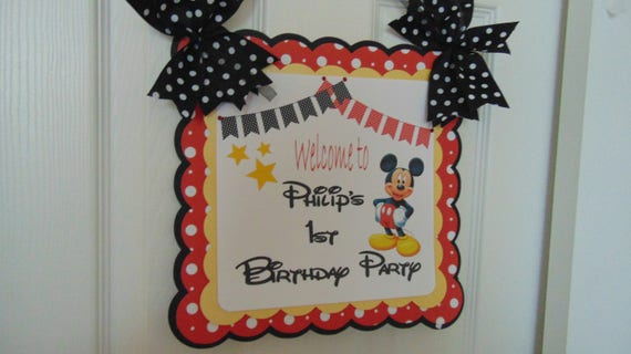 mickey mouse birthday welcome door banner with name birthday banner