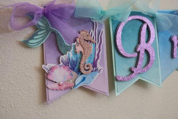 Under The Sea Mermaid Happy Birthday Name Banner Pastel Etsy