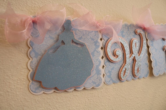 Cinderella Happy Birthday Name Banner Princess Banner 1st Etsy