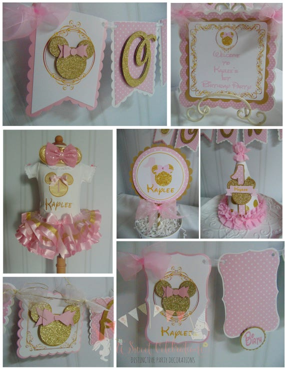Minnie Mouse Pink And Gold 1st Birthday Decorations High Etsy