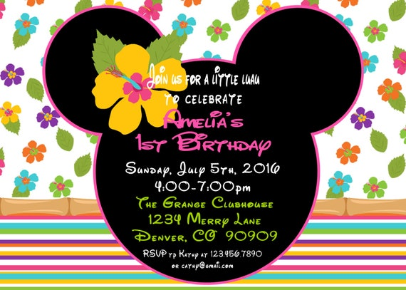 Minnie Mouse Luau 1st Birthday Party Package