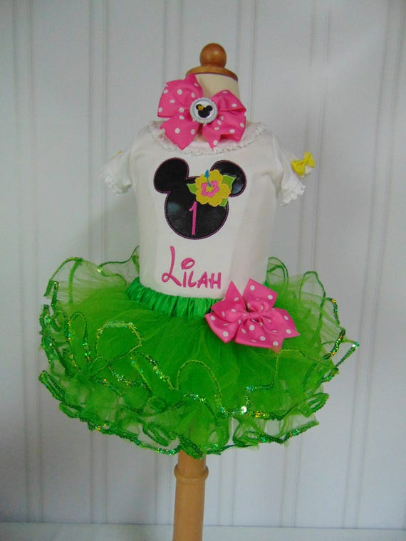 Minnie Mouse Luau 1 St Birthday Outfit 2nd Tutu