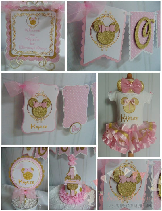 Minnie Mouse Pink And Gold Petite Party Package 1st Birthday Etsy