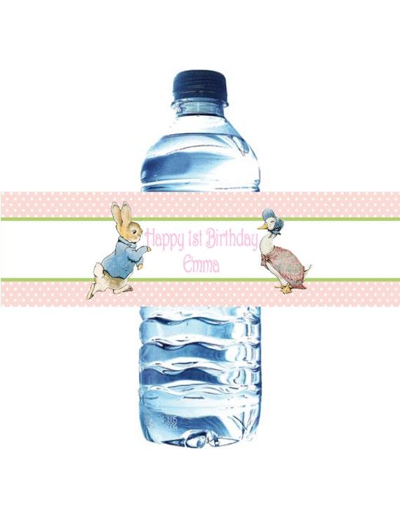 Peter Rabbit Water Bottle Labels Waterproof Baby Shower Or Birthday