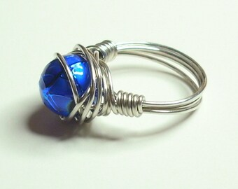 Blue and Silver Wire Wrapped Ring