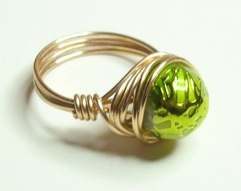 Drizzled Green Wire Wrapped Ring