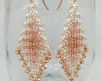 Copper, rose gold and silver color chainmaille earrings