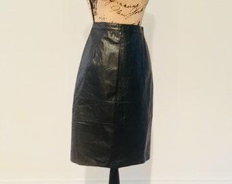 cd821ad5a98 Vintage 1980 s Black Leather Skirt   Size XXS