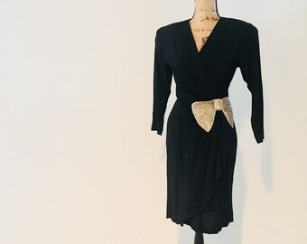 779a2a095868 Vintage Black Rayon Party Dress   1980 s does 40s Classic Formal Hourglass  Figure Fitted Cocktail Dress   Size XS