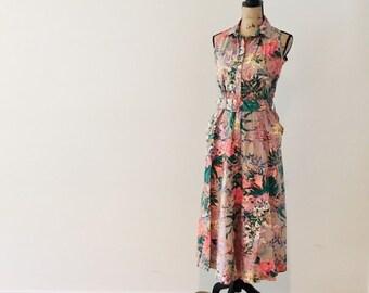 12a16e24a1f Vintage 1990 s Tropical Dress   Summer Floral Rayon Cotton Pocket Retro Garden  Party Dress   Size Medium