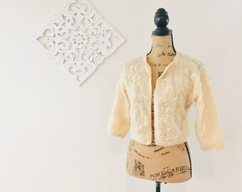 f7d02bba449 Vintage Mohair Sweater   1940 s 50 s Delicate Beige Tan Wool and Pearl Bead  Cardigan