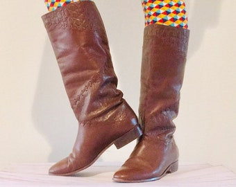 6331141cd3a Vintage Brown Leather Tall Pirate Boots   Womans Size 9 USA Slouchy Boots  Equestrian Style