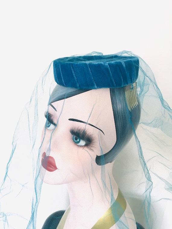 Vintage Blue Halo Hat / Fascinator 1950's Veiled … - image 3
