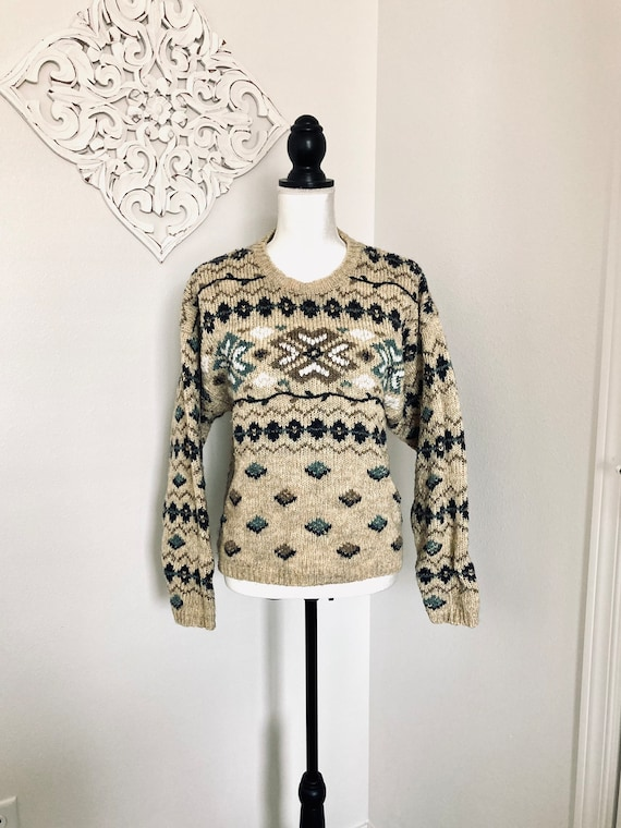 Vintage Fair Isle Sweater / 1990's Retro Wool Acry