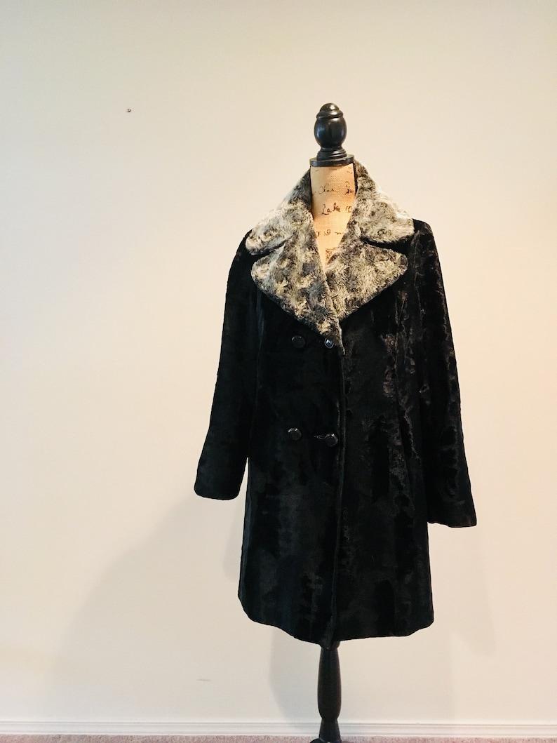 f8423922c Vintage 1970 s Black Faux Fur Coat   Mona Lisa NICCOLINI