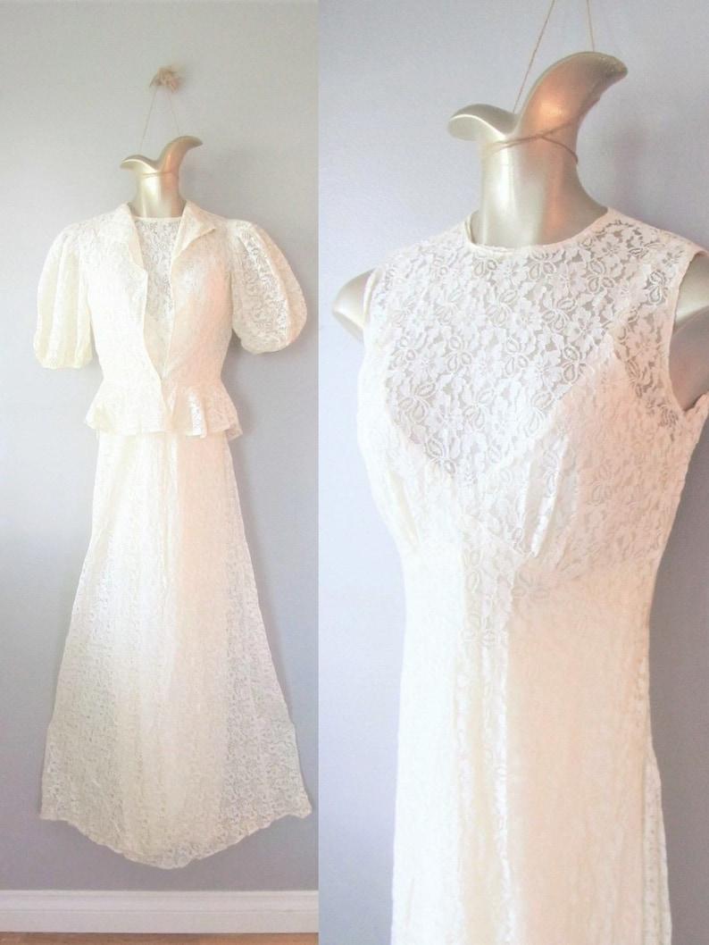 3e4c2700594 Vintage 1930 s Wedding Dress   Ivory Antique Lace Bias Cut